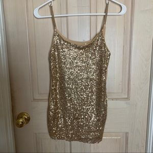 Body Central Gold Sequin Tank